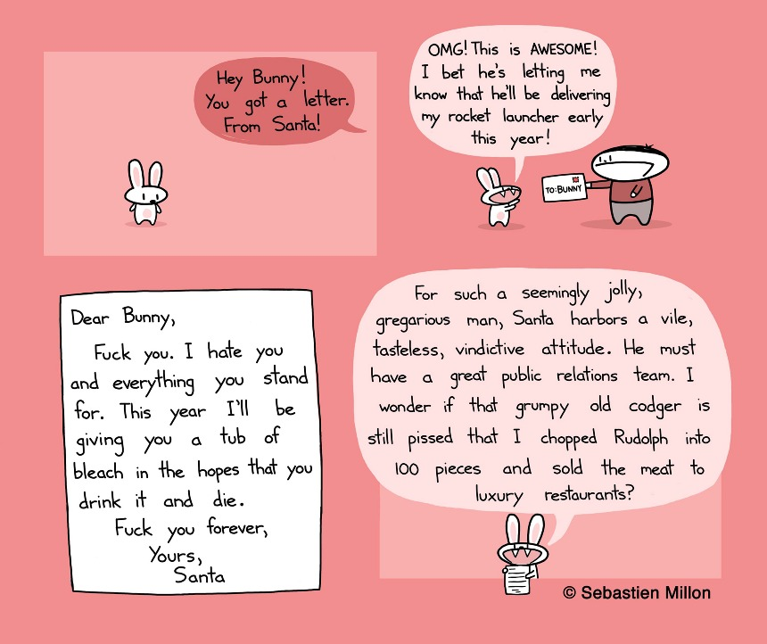 Santas letter to bunny sebastien millon art illustration always nice to get a letter in the mail spiritdancerdesigns Image collections