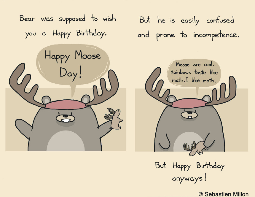 Happy Moose Day Birthday Card Design Sebastien Millon Art – Totoro Birthday Card