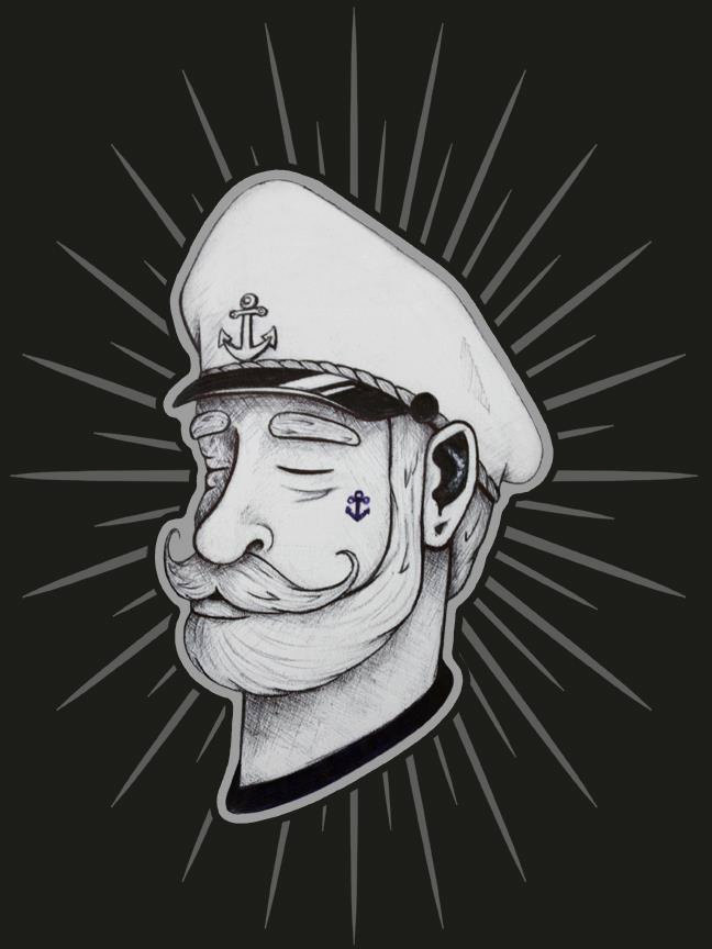old sea captain drawing